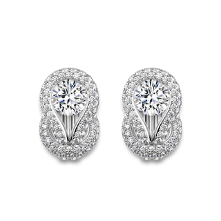 Encordia® Solitaire Pavé Stud Earrings
